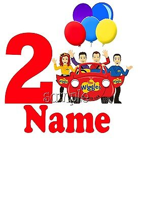Iron On Transfer Personalised Birthday Any Name/Number Wiggles Emma Lachie Party
