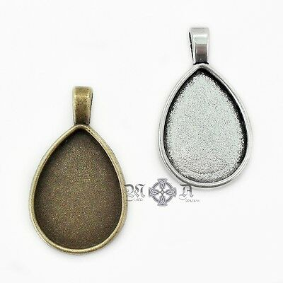10 x Metal Alloy Teardrop Cabochon Pendant Settings 18mm x 25mm Tray