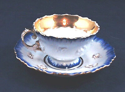 Antique Early 19th Century Blue & Gold Meissen Relief Floral Cup & Saucer