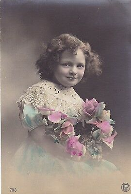 Children - Young Girl Sitting Holding A Bunch of Roses   BH5824