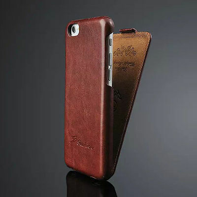 Luxury Genuine Real Leather Flip Case for Apple iPhone Models