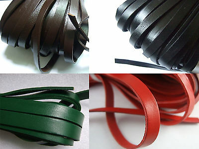 1Meters 10mm Flat Black/Brown/Green/Red Genuine Real Leather Cord 10x2mm