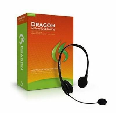 NUANCE Dragon Naturally Speaking Home 12 Version 12.0 12.5 w/Headset & Mic ✔NEW✔
