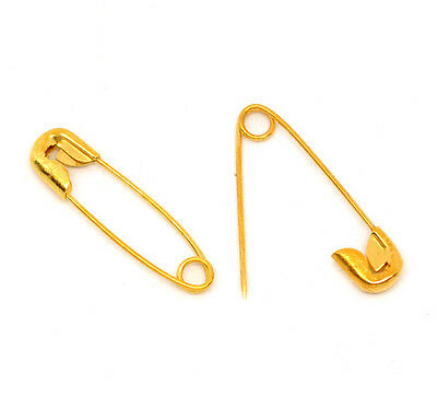 50 19x5mm Gold Safety Pins  Patchwork Quilting Badge Sewing Jewellery Craft BULK