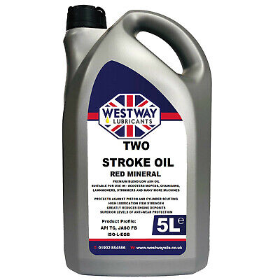 2 Stroke Oil Low Smoke Red Mineral 5L for Chainsaws Strimmers - 5 Litres