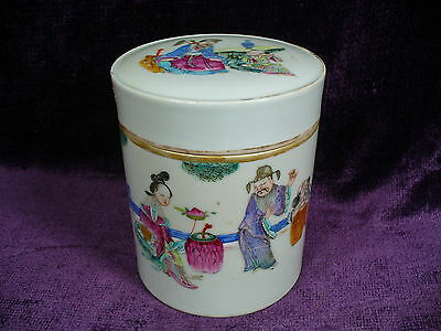 Antique 19C Tongzhi Chinese famille rose porcelain box 8 immortal 5""