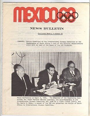 Orig.Olympic News / Preview   Olympic Games MEXICO 1968  -  Nr. 62  !!   RARE