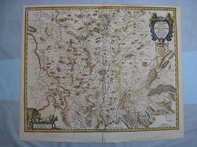 Jan Jansson, 1647, Rare Map Bourgogne, France 17th Cent
