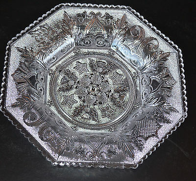 Boston And Sandwich Glass Company Antique Lacy Period Octagonal Plate