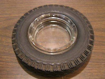 Original Goodyear 4 Ply Tire Ash Tray Advertising Clear Glass