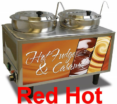 New Commercial Double 7 QT Hot Fudge/Caramel Food Warmer by Benchmark 51072H