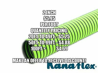 "2"" ID Kanaflex 300 EPDM Green All-Weather Septic & Water Suction/Discharge Hose"