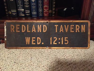 Vintage Redland Tavern Metal Sign - Perfect for the Man Cave