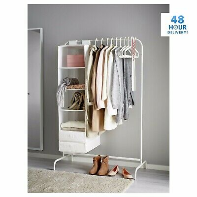 Mulig Clothes Rail 99cm Black White Display Rack Coat Rail Stand Free Standing