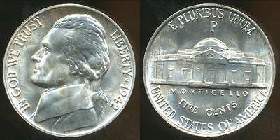 United States, 1942-P 5 Cents, Jefferson Nickel (Silver) - Uncirculated