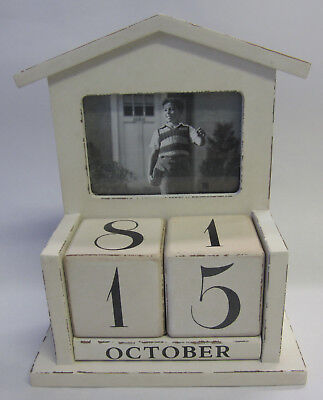 French Rustic Shabby Wooden Perpetual Calendar Cream Large Numbers Photo Holder