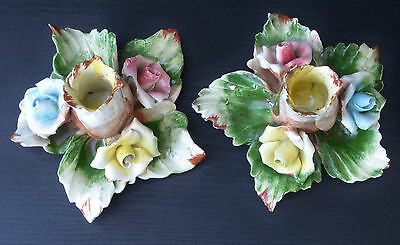 Pair of Capodimonte Candle Holders - Roses
