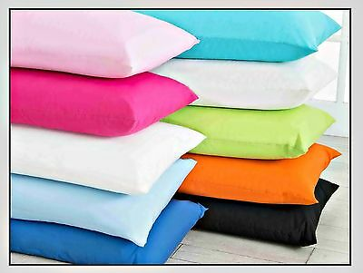 "Plain Dyed Poly Cotton Nursery Baby Cot Pillow Cases Pair 16"" X 24"""