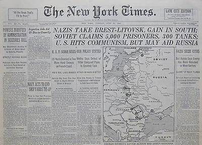 6-1941 WWII June 24 GERMANS TAKE BREST-LITOVSK GAIN IN SOUTH SOVIET CLAIMS 5,000