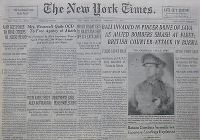 2-1942 WWII February 21 BRITISH COUNTER ATTACK IN BURMA BALI INVADED JAVA BATAAN
