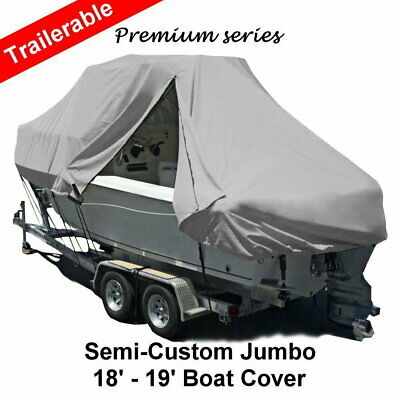 New Design with Zipper 600D 18ft-19ft 5.5-5.8m T-Top Jumbo Boat Cover Grey