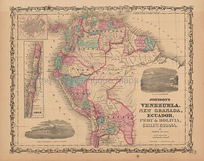 Venezuela Colombia Antique Map Johnson 1863 Original