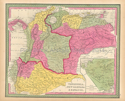 Colombia Venezuela Antique Map Mitchell 1846 Original