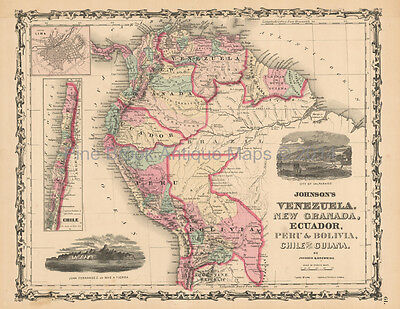 Venezuela Colombia Antique Map Johnson 1861 Original