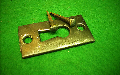 CAST IRON KEY HOLE ESCUTCHEON w/ HAND MADE NAILS      ROSETTE  (3091)