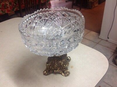 Vintage Diamond Cut Crystal and Brass Compote Candy Dish Heavy Hollywood Regency