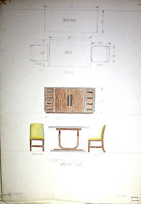 ART DECO PAINTING DRAWING NORMAN McKNIGHT DESIGNS 1930'S  SIDEBOARD TABLE CHAIR