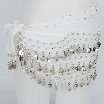 White 3 Rows Belly Dance Hip Skirt Scarf Wrap Belt with Silver Coins US