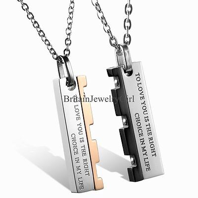 Mens Womens Stainless Steel Pendant Chain Couple Love Promise Necklace Gift