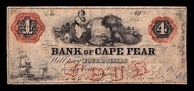 B-D-M USA Obsolete Currency 1859 Bank of Cape Fear 4 Dollars North Carolina