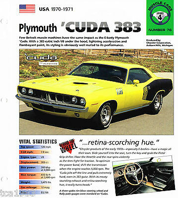 1970/1971 Plymouth 'CUDA 383 SPEC SHEET/Brochure/Flyer