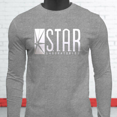 The Flash DC Barry Allen Laboratories Star Labs Mens Gray Long Sleeve T-Shirt