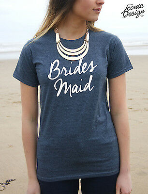 Brides Maid T-shirt Top Wedding Hen Party Gift Married To Be Mrs Bridesmaid