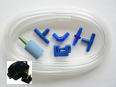 Aquarium Air Pump With Airline and Air Stone Accessories Fittings Valves Kit