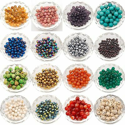 Natural Gemstone Round Spacer Loose Beads 4mm 6mm 8mm 10mm 12mm Jewelry Making