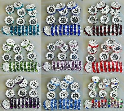 100pcs Czech Crystal Rhinestone Silver Rondelle Spacer Beads 10mm 12mm