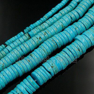 Stabilized Turquoise Gemstone Heishi Spacer Beads 15'' 4mm 6mm 8mm 10mm
