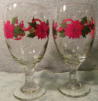 """Poinsettia Water Goblets Lot of 2 Libbey 7"""" tall 16 ozs"""
