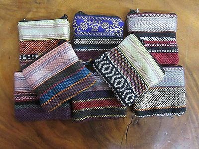 x1 Random Small Coin Purse 10 x 10 cm Metallic Top Indian Fabric