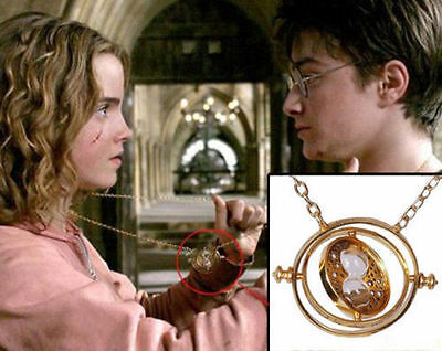 Harry Potter Hermione Granger Rotating Time Turner Necklace Gold Hourglass WP
