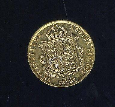 1887M Australian Shield Gold Half Sovereign - Queen Victoria Jubilee Head UNC