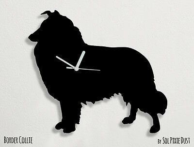 Border Collie Dog Silhouette 2 - Wall Clock