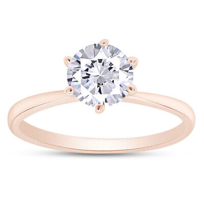 1.00 CT Round Cut Solitaire Engagement Wedding Ring Solid 14k Rose Gold