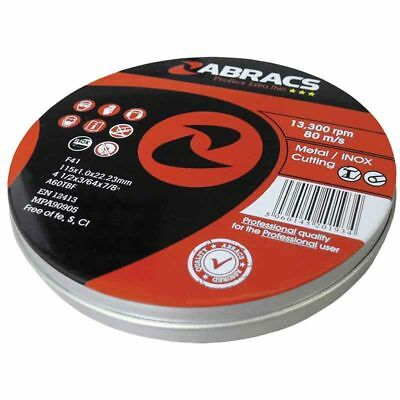 Abracs Proflex 115mm X 1mm Extra Thin Inox Cutting Disc Tin of 10 Discs