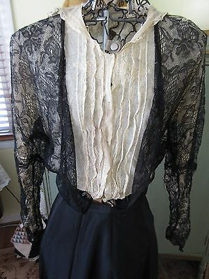Antique Edwardian Victorian Black French Chantilly Lace Blouse Ecru Net Bodice