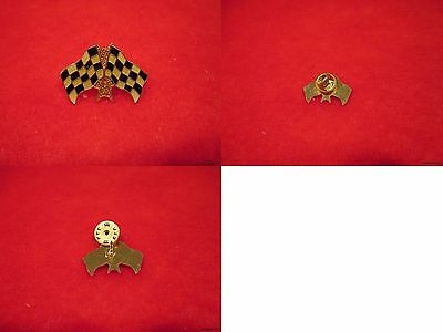 Wholesale Lot of 100-Double Checkered Flag Lapel Pins[Gold,Black&Off White]-27mm